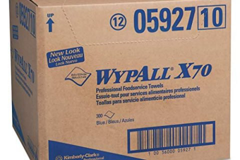 WypAll 05927 X70 Foodservice Towels, 1/4 Fold, 12 1/2 x 23 1/2, Blue Case of 300