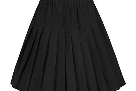 Urban CoCo Women's Elastic Waist Tartan Pleated School Skirt Medium, Solid Balck