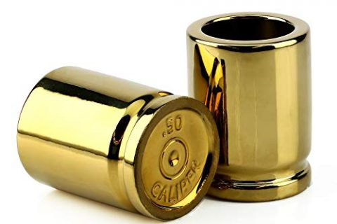 Step up to the Bar, Line 'Em Up, and Take Your Best Shot – Each Shot Holds 2-Ounces – Set of 2 Shot Glasses Shaped like Bullet Casings – Barbuzzo 50 Caliber Shot Glass – Great Addition to the Mancave