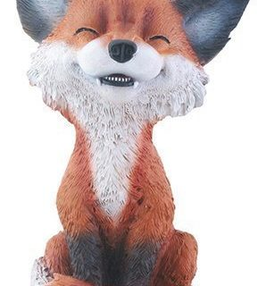 Brown and Black Smiling Fox Teehee Themed Decorative Figurine Statue