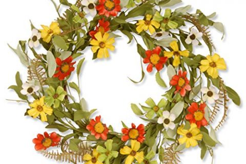 National Tree 20 Inch Floral Wreath with Red and Yellow Sunflowers GAF30-20WSRL