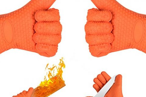 Oven Mitts, HOMILY Heat Resistant Gloves Wrist Protection Quilted Cotton Lining, Non-slip Kitchen Gloves for Cooking, Baking, BBQ Grilling, 1 Pair 2 x Orange Mitt