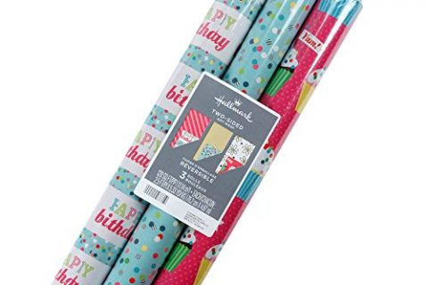 Hallmark Reversible Birthday Wrapping Paper, Flowers and Cupcakes Pack of 3, 120 sq. ft. ttl.