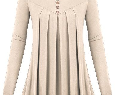 Miagooo Plus Size Tunic Tops, Womens Long Sleeve Scoop Neck Pleated Front A Line Flare Hem Flowy BlouseBeige,Large