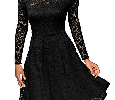 MissMay Women's Vintage Floral Lace Long Sleeve Boat Neck Cocktail Formal Swing Dress, C-black_0, Small