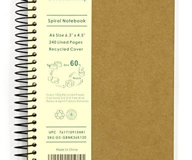 GoldenSunny – Small Spiral Notebook, 240 Lined Pages, A6 Size Wide Ruled Paper, Recycled Hard Cover