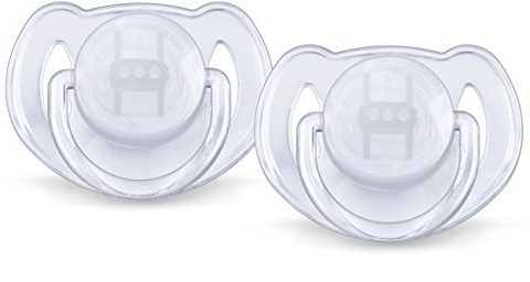 Philips Avent Orthodontic Translucent Silicone Pacifier, 6-18 Months 2 ea Colors May Vary