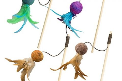 Ethical Pets Wool Ball Teaser Wand Wuggles Cat Toy, Assorted