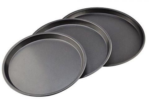 Black – Bakeware Set, Yamix 3Pcs Set Carbon Steel Nonstick Kitchenware Baking Pan Round Pizza Pan Pizza Tray