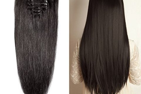 "Double Weft 100% Remy Human Hair Clip in Extensions 14""-22"" Grade 7A Quality Full Head Thick Long Soft Silky Straight 8pcs 18clips for Women Beauty 18″ / 18 inch 140g,#1B Natural Black"