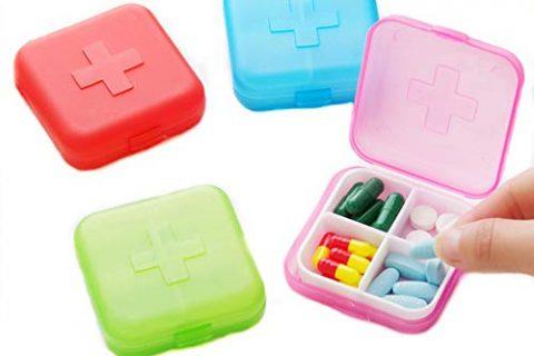 4PCS Portable 4 Slots Capsules Cross Pill Case Box ,Random Color