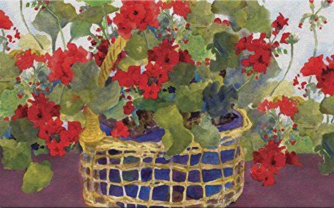 Toland Home Garden Geranium Basket 18 x 30 Inch Decorative Floor Mat Floral Colorful Red Flower Doormat
