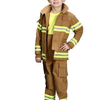 Aeromax Jr. Fire Fighter Bunker Gear, Tan, Size 6/8