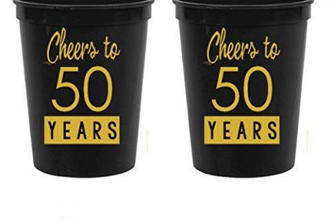 Cheers to 50 Years – 50th Birthday Black Stadium Plastic Cups