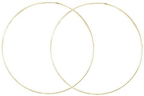 Very Thin Endless Hoops, 60mm 2 3/8″ Gold Tone in Gold Tone
