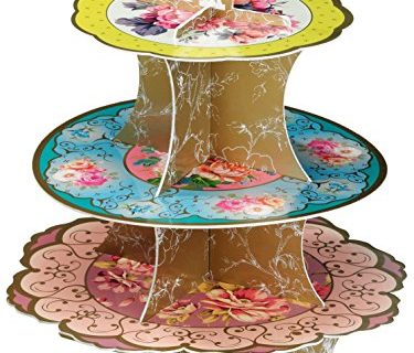Talking Tables Tea Party Decorations Floral Cake Stand | Truly Scrumptious | Also Great For Birthday Party, Baby Shower, Wedding And Anniversary | Paper, 3-Tier