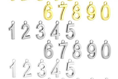 BEADNOVA 30pcs Rhodium/Gold/Silver Plated Number 0-9 Charm for Jewelry Making