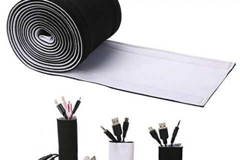 Cable Management Sleeves, ENVEL Neoprene Cord Organizer with Free Nylon for TV USB PC Computer Network Wires 118 inches DIY by Yourself, Adjustable Black and White Reversible Wire Hider