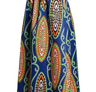 Women's Abstract Floral African Printed Pleated Maxi Long Dress Skirt Medium