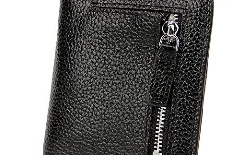 S-ZONE Women's Genuine Leather RFID Blocking Small Compact Bifold Pocket Wallet Ladies Mini Purse