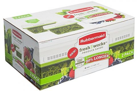 Rubbermaid 17.3 Cup FreshWorks Produce Saver, Large, Green – 2 Pack