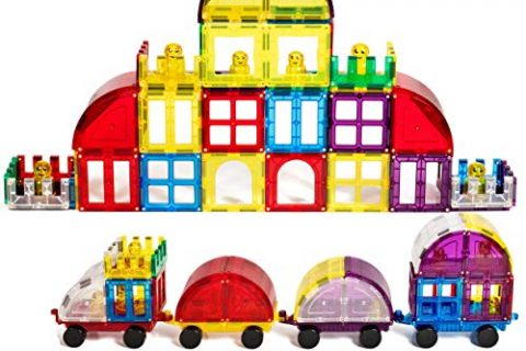 Magnetic Stick N Stack 100 Piece Accessory Set Including Doors Windows Gates Cars and Train Connectors 6 Figures Arches and Much More