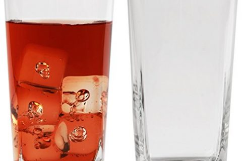 Circleware 10130 Cube Heavy Base Highball Tall Glasses, Set of 4 Cocktail Glassware for Water, Juice, Ice Tea Punch, Beer, Wine, Liquor, Whiskey & Beverage Drinks, 17 oz, Square Tumblers