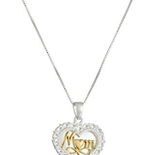 "Two-Tone Sterling Silver ""A Mother's Love"" Reversible Heart Pendant Necklace, 18″"