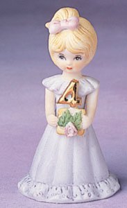 "Enesco Growing Up Girls ""Blonde Age 4"" Porcelain Figurine, 3.5"""