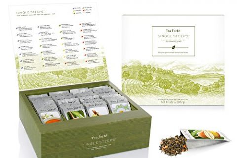 Tea Forté SINGLE STEEPS Loose Tea Sampler, Assorted Variety TEA CHEST Gift Set, 28 Different Single Serve Pouches – Black Tea, Green Tea, White Tea, Herbal Tea