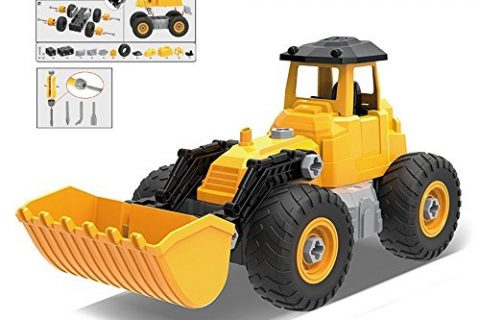 Take Apart Truck Bulldozer Toy Pretend Play Set – Build Your Own Kit Construction Toy Vehicle Bulldozer, Cement Roller & Cowcatcher – 56 Take-A-Part Pieces With Toy Tools For Kids Ages 3 And Up