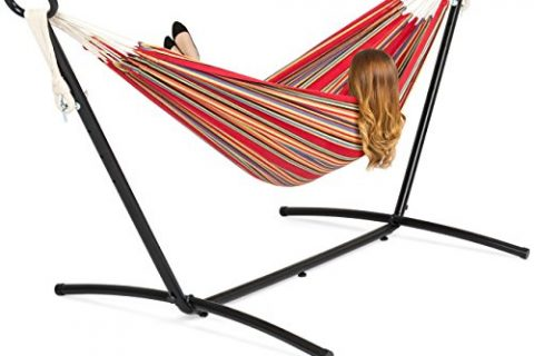 Red Stripe – Best Choice Products Double Hammock Set w/Steel Stand, Carrying Case for Indoor and Outdoor