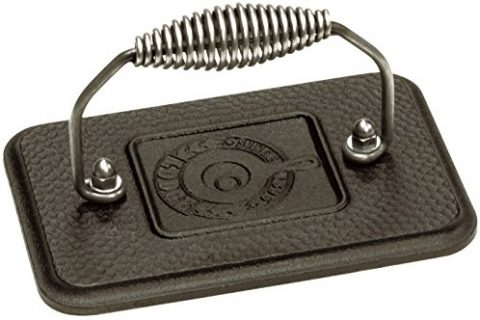 Lodge Rectangular Cast Iron Grill Press. 6.75 x 4.5″ Cast Iron Grill Press with Cool-Grip Spiral Handle.