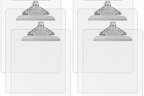 Trade Quest Plastic Clipboard Transparent Color Letter Size Standard Clip Pack of 6 Clear