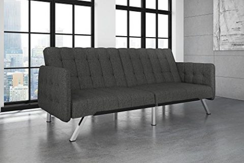 Grey Linen – DHP Emily Convertible Futon and Sofa Sleeper, Modern Style with Tufted Cushion, Arm Rests and Chrome Legs, Quickly Converts into a Bed