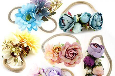 IEUUMLER Elastic Flower Baby and Newborn Girls Floral Props Headband-Set of 2 Hair Accessories CD