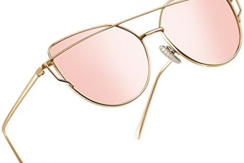 Joopin Polarized Cat Eye Sunglasses for Women Metal Frame Sun Glasses UV400 Shade Pink Simple package, as the pictures
