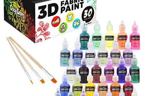Crazy Colors 30 Color 3D Fabric Paint Set Kit – Shiny Vibrant Puffy Colors in Marker Pen Style Bottles – Create Permanent Art on Fabric, Textiles, T-Shirts, Canvas, Wood & Most Porous Surfaces.