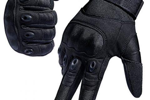 FREETOO Tactical Gloves Military Rubber Hard Knuckle Outdoor Gloves Black Full Finger, L:9″-9.2″ Circumference Finger Length: 3.3″