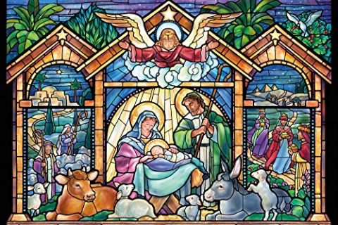 Box of 15 – Stained Glass Nativity Religious Christmas Cards
