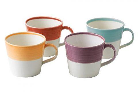 Royal Doulton 1815 Bright Colors Mixed Patterns Mugs Set of 4, Multicolor