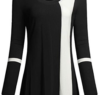 Women Casual Tunic Tops,Helloacc Comfy Loose Fit Crewneck Stylish Blouses,Black,XX-Large
