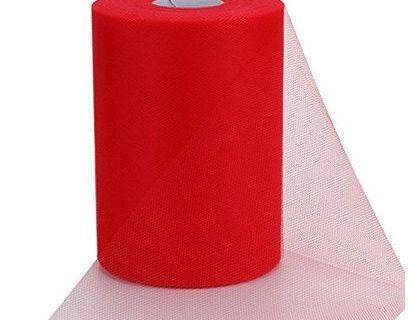 ASIBT 6 Inch x 100 Yards Tulle Roll Spool Fabric Table Runner Chair Sash Bow Tutu Skirt Sewing Crafting Fabric Wedding Party Gift Ribbon Red