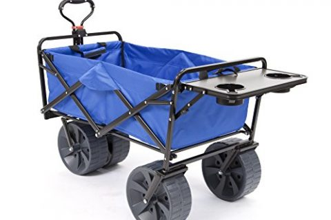 Mac Sports Heavy Duty Collapsible Folding All Terrain Utility Wagon Beach Cart with Table – Blue