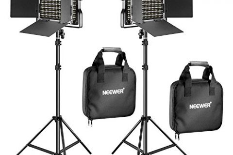 Neewer 2 Pieces Bi-color 660 LED Video Light and Stand Kit Includes:23200-5600K CRI 96+ Dimmable Light with U Bracket and Barndoor and 275 inches Light Stand for Studio Photography, Video Shooting