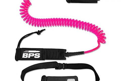 Pink – BPS 10′ Coiled SUP Leash with Rail Saver w/Waterproof Wallet