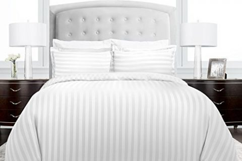 Hypoallergenic –Full/Queen – White – Luxury Soft Brushed Microfiber with Matching Shams – Beckham Hotel Collection Dobby Striped Duvet Cover Set