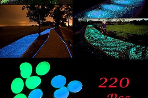BeRicham 220Pcs Man-made Glow in the Dark Garden Pebbles for Walkways, Decorations and Fish Tank, Blue & Green