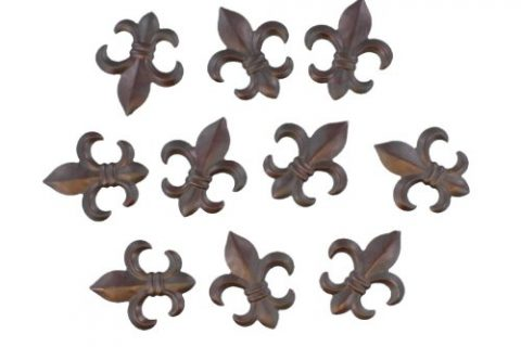 10 Pc Set – Creole Tuscan Saints Decor – 3″ Small Rustic Metal Fleur De Lis Wall Plaques / Ornaments