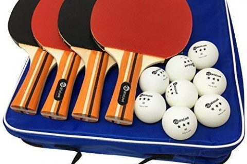 JP WinLook Ping Pong Paddle – 4 Pack Pro Premium Table Tennis Racket Set, 8 Professional Game Balls, Spin Rubber Bat, Training/Recreational Racquet Kit, Accessories Bundle, Portable Cover Case Bag